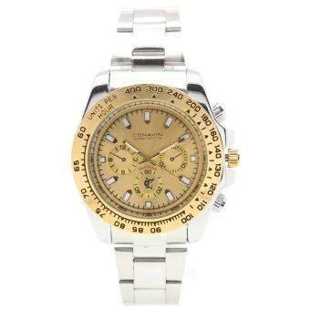 ราคา CONAVIN นาฬิกาข้อมือผู้ชาย ระบบ Quartz สายสแตนเลส เรือนเหล็ก ขอบทอง กันน้ำ รุ่น DAT-793K