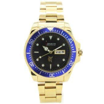 ซื้อ/ขาย CONAVIN นาฬิกาข้อมือผู้ชาย ระบบQuartz สายทอง เรือนทอง วันที่,สัปดาร์ (หน้าดำขอบน้ำเงิน)รุ่น SUB-7722GT