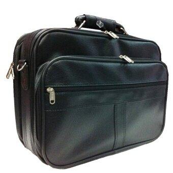 Coni Coci กระเป๋าเอกสาร แบบมีโครงแข็ง ผ้าหนังเทียม PVC มีสายสะพาย ขนาด 16.5 นิ้ว (สีดำ)