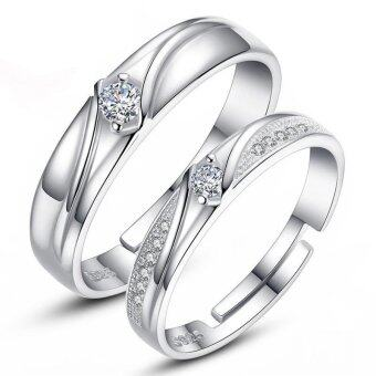 Couple Rings Jewellry 925 Silver Adjustable Lovers Ring Jewelry E018 - intl