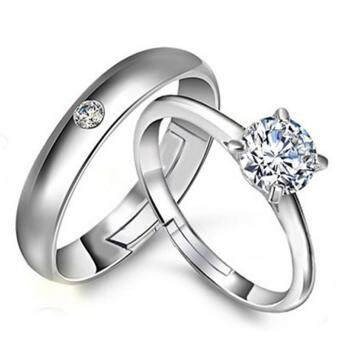 Couple Rings Jewellry 925 Silver Adjustable Lovers Ring Jewelry E019 - intl