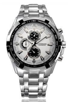 Curren นาฬิกาข้อมือผู้ชาย สายสแตนเลส น้ำหนักดี คมกริบ แท้ 100% สีเงิน/ขาว รุ่น C8023 พร้อมกล่องนาฬิกา CURREN