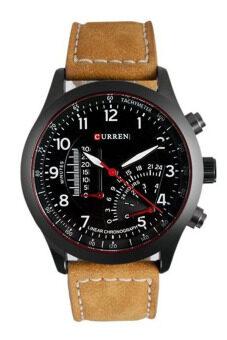 Curren นาฬิกาข้อมือสุภาพบุรุษ สายหนังสีน้ำตาล หน้าปัดสีดำ รุ่น C8152 (image 4)