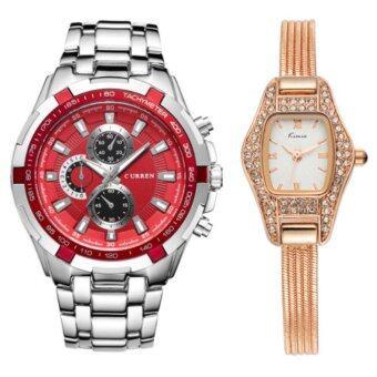 Curren + KIMIOนาฬิกาข้อมือสุภาพบุรุษ สายสแตนเลส Redรุ่น C8023 คู่Kimio นาฬิกาข้อมือผู้หญิง สายสแตนเลส Rose/Gold รุ่น KW539 (Combo Set สุดคุ้ม)