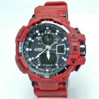 ประเทศไทย D-ZINER 2 นาฬิกาข้อมือชาย 2 ระบบ หน้าปัดดำ เรือนสีแดง สายพลาสติก (สีแดง)