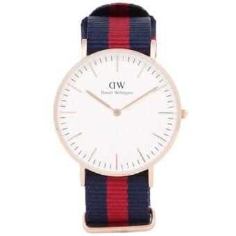 Daniel Wellington 0101DW Classic Oxford 40mm นาฬิกาข้อมือ แฟชั่น ผู้ชาย สายนาโต้ ทูโทน สีทองแดง Men Watch - Rose Gold Dial