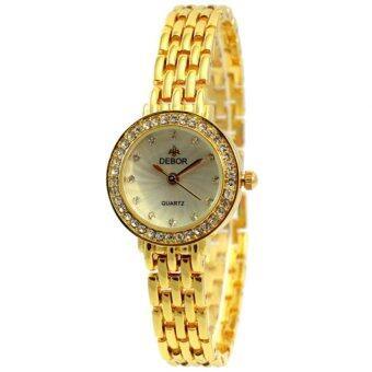 ราคา DEBOR นาฬิากข้อมือผู้หญิง สีทอง สายสแตลเลส รุ่น หน้าปัดกลมสีขาว