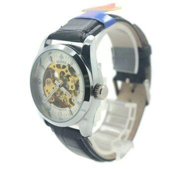 Debor นาฬิกาข้อมือสุภาพบุรุษ สุภาพสตรี สายหนัง หน้าสีเงิน (Automatic Movements) - DA013 (Silver)