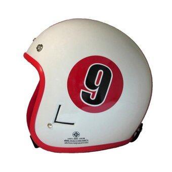 DIFF หมวกกันน็อควินเทจเต็มใบ สีขาว-แดง
