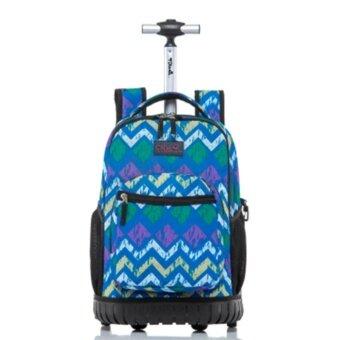Discount Rolling School Trolley Bag 4-9 Grade Blue - intl