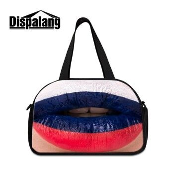 Dispalang Large Travel Luggage Bag Russia Flag on Lip Men Hand Luggage Travel Duffle Bags Ultralight Foldable Shoulder Tote Bags - intl