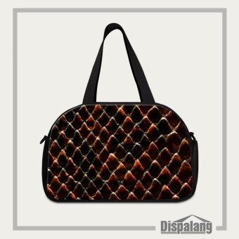 Dispalang Mens Travel Duffle Bag Snakeskin 3D Printing Women Travel Luggage Bag with Independent Shoe Pocket Big Weekend Bag - intl