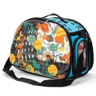 กระเป๋าใส่สัตว์เลี้ยงหมาแมว ทรงใส ลวดลายน่ารัก แบบหิ้ว+สะพายข้าง รุ่น Elite (สีฟ้า)
