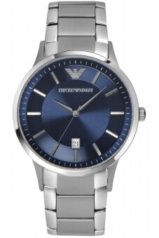2561 Emporio Armani Men s Quartz Watch with Blue Dial Analogue Display and Silver Stainless Steel Bracelet AR2477