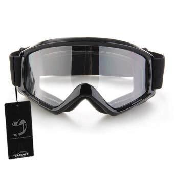 รถจักรยานยนต์ Enduro ออฟโรด Windproof Hemlet แว่นตาแว่นตาสีดำ