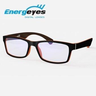 ENERGEYES แว่นกรองแสงถนอมสายตาและลดแสงสีน้ำเงินลง 50% กรอบทรงสี่เหลี่ยมสำหรับผู้ใหญ่ ด้านหน้าสีดำ ด้านหลังสีส้มแทนเจอรีน