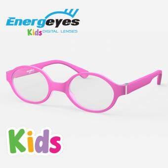 ENERGEYES KIDS แว่นกรองแสงป้องกันการเมื่อยล้าของดวงตา ถนอมสายตาและลดแสงสีน้ำเงินลง 50% กรอบทรงรีสำหรับเด็ก ด้านหน้าและด้านหลังสีชมพูด้าน