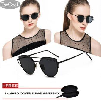 EsoGoal Fashion Women Sunglasses Sunscreen Anti-UV Color Film Sunglasses , Black Gray - intl