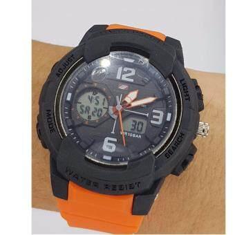 EVOSPORTนาฬิกาสปอร์ตกันน้ำ100 % กันกระแทก สายยาง สีส้ม ขนาด 45-49 mm สำหรับผู้ชื่นชอบการออกกำลังกาย กันน้ำได้ลึก 100 เมตร
