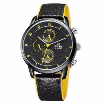 EYKI นาฬิกาข้อมือ 3 หน้าปัด รุ่น OVERFLY สายหนังขอบสีเหลือง