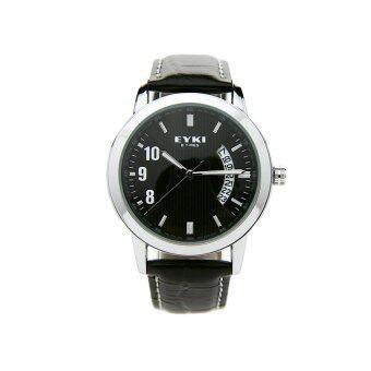 EYKI นาฬิกาข้อมือชาย สีดำ สายหนัง รุ่น EET8408G