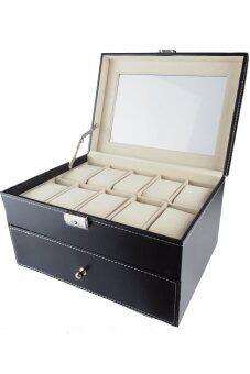 Fancybox กล่องนาฬิกาไม้บุหนัง สำหรับนาฬิกา 20 เรือน (Black)