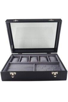 FancyBox ตู้นาฬิกาไม้บุหนัง ฝากระจก.ใส่นาฬิกา 5 เรือน +กล่องใส่แหวน (สีดำ)