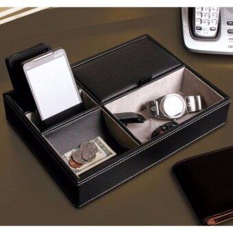 Fancybox กล่องเอนกประสงค์ตั้งโต๊ะ บุหนัง 5 ช่อง สีดำ ใส่นาฬิกา เครื่องประดับ ของใช้
