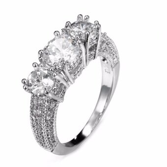 Fancyqube Hot Sale Jewelry Size 6-10 White Sapphire Silver Wedding Band Ring Silver-8 - intl