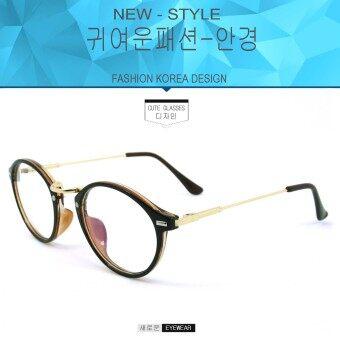 Fashion แว่นตากรองแสงสีฟ้า K-1241 สีน้ำตาลตัดทอง ถนอมสายตา (กรองแสงคอม กรองแสงมือถือ)