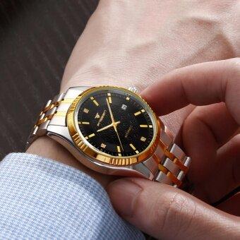 ซื้อ/ขาย FNGEEN นาฬิกาข้อมือผู้ชาย ระบบกลไกแบบออโตเมติก โชว์กลไก สายสแตนเลส 2 กษัตริย์ สไตส์คลาสสิก หน้าปัดสีดำ