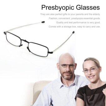 Foldable Stainless Steel Presbyopic Glasses Eyewear Style Reading Glasses Black #1.5 - intl
