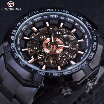Forsining Sport Racing Series Skeleton Stainless Steel Black GoldenDial Men Automatic Watch