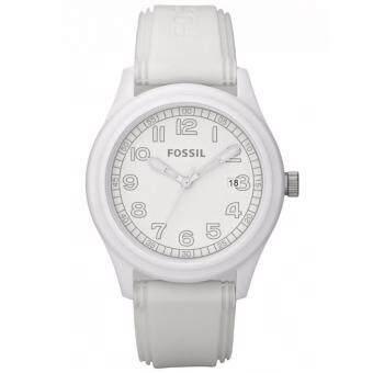 ประเทศไทย Fossil Men s JR1295 Analog Quartz Watch with White Dial-WHITE White Silicone JR1295