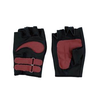 ถุงมือมอเตอร์ไซค์ สั้นครึ่งนิ้ว หนังแท้ คาดเข็มขัด (FREESIZE) สีแดง