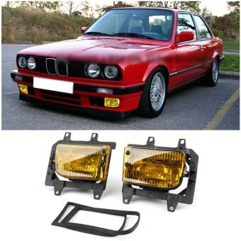 Front Bumper Yellow Fog Lights Plastic Lens Kit For 85-93 for BMWE30 3-Series Sedan - intl