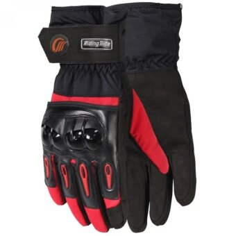 G2G ถุงมือข้อยาวใส่ขับรถมอเตอร์ไซค์กันน้ำได้ สำหรับชาวไบเกอร์ สีแดง Size XL จำนวน 1 คู่