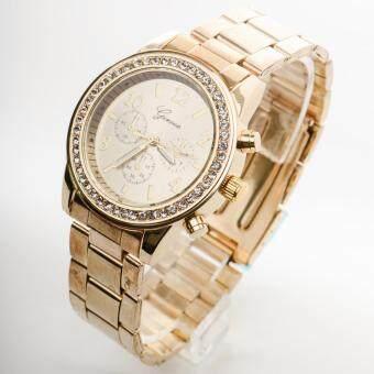 ซื้อ/ขาย Geneva นาฬิกาแฟชั่นผู้หญิงรอบหน้าปัดฝังเพชรสายสแตนเลส [สีทอง]