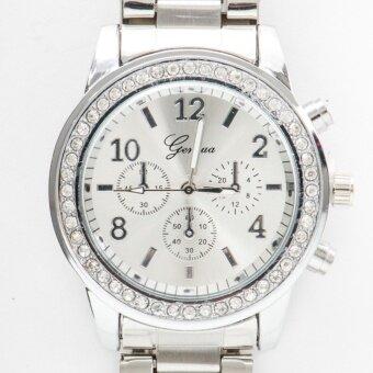 ราคา Geneva นาฬิกาแฟชั่นผู้หญิงรอบหน้าปัดฝังเพชรสายสแตนเลส [สีเงิน]