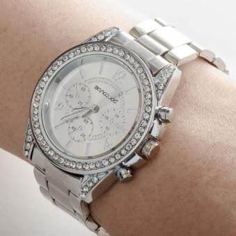 Geneva นาฬิกาแฟชั่นผู้หญิงรอบหน้าปัดฝังเพชรสายสแตนเลส [สีเงิน] pantip
