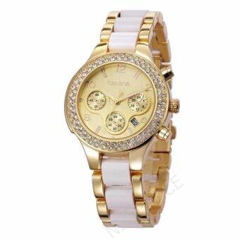 Geneva Date Quartz นาฬิกาข้อมือผู้หญิง มีวันที่ รุ่น WP8525 (Gold/ White) แถมซองนาฬิกาสุดหรู