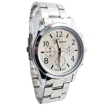 Geneva นาฬิกาแฟชั่น ผู้หญิง สายสแตนเลส สีเงิน Fashion Casual Stainless Steel Women Watch - Silver