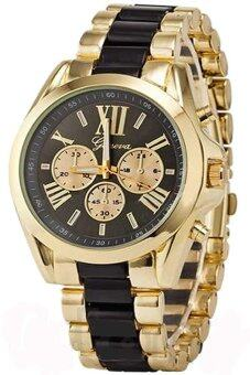 GENEVA นาฬิกาข้อมือ บอยไซส์ ใส่ได้ทั้งชายและหญิง รุ่น GP8501 (Black/ Gold) สายแสตนเลส Luxuary Boysize