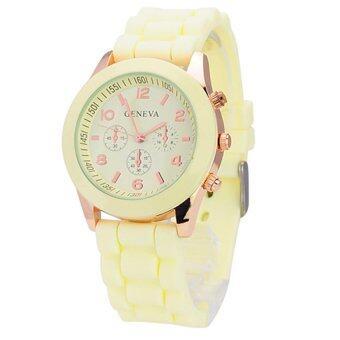 ประเทศไทย GENEVA Watch นาฬิกาข้อมือแฟชั่นผู้หญิง สีครีม สายยาง รุ่น GL-2261