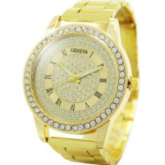 GENEVA watch นาฬิกาข้อมือแฟชั่นผู้หญิง หน้าปัดทอง เงิน rosegoldเพชร สายเหล็ก รุ่น WM0100-102