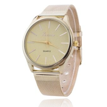 GENEVA Women Ladies Crystal Gold Mesh Band Wrist Watch -Gold - intl
