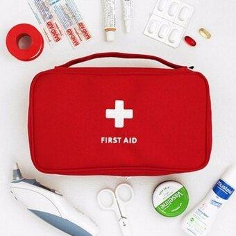 อยากขาย GizGift กระเป๋ายา กระเป๋าใส่ยาจัดระเบียบ และเครื่องสำอางค์จำเป็นต่างๆ สีแดง ขนาดใหญ่