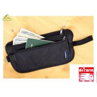 GP00034 Security Zipped Waist Bum Belt Bag Passport Cash Card Holder Sport Travel Pouch(Black)