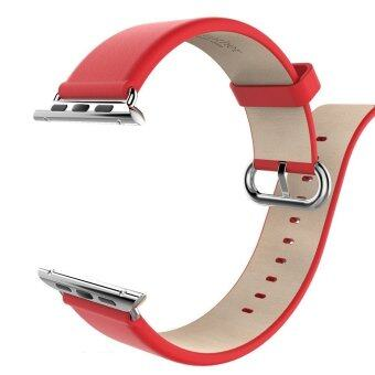 HOCO Classic รัดสายหนังแท้เข็มขัดหัวเข็มขัดสแตนเลสอะแดปเตอร์สำหรับ Apple Watch 38มม (สีแดง)