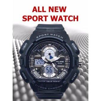 HOT SALES นาฬิกาข้อมือ SPORT DUAL TIME by ALIKE AK16127 ALL SILVER ดีไซน์ใหม่หน้าจอ 2 ระบบ QUARTZ DIGITAL สายยางซิลิโคน สวยเฉียบ ฟังค์ชั่นครบทุกการใช้งาน By ...